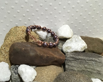 Pearl bracelets, copper cuff bracelets, purple bracelets, handmade bracelets, boho style jewelry, jewelry for arthritis, gypsy jewelry,