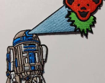 """5"""" R2-D2 Orange Dancing Bear Patch Grateful Dead Owsley Stanley Merry Pranksters Steal Your Face"""