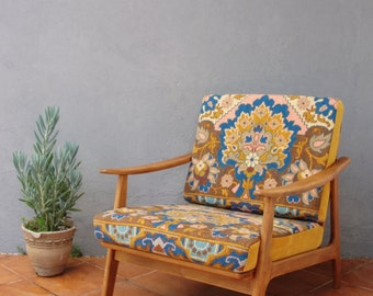 Embroidered Lounge Chair Mid Century Armchair Bohemian Wooden Furniture Vintage Embroidery Restored 1950's Chair