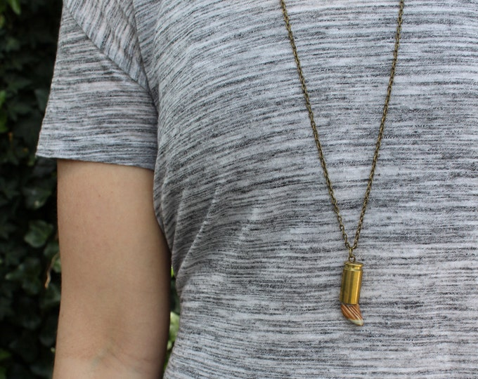 Stripy Unisex Stone Bullet Necklace.