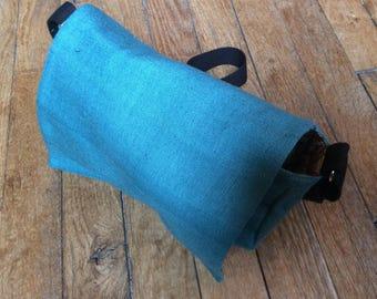 Bag octagonal blue silk, lining art