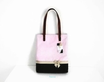 Tote bag in cotton fabric with polka dot designs of pink, beige and brown model Pikeros 038