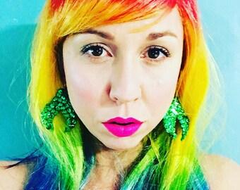 Emerald Green Sparkly Mermaid Fin Earrings / Handmade Lightweight Mermaid Earrings/ Mermaid Birthday Present / Mermaid Accessories