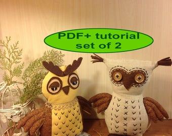 Owl sewing pattern owl pattern stuff owl toy sewing PDF softie pattern woodland animal owl plush pattern owl soft toy cloth toy tutorial