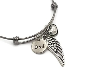 Loss of Father Sympathy Gift, Angel Wings Bangle Bracelet, Memorial Bracelet, Memorial Gift for Loss of Dad, Dad Memorial Jewelry, Keepsake