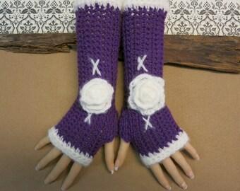 Crochet Fingerless Gloves, Purple Arm Warmers, Womens Gift, Winter Accessories, Burlesque Gloves, Crochet Wool Flower