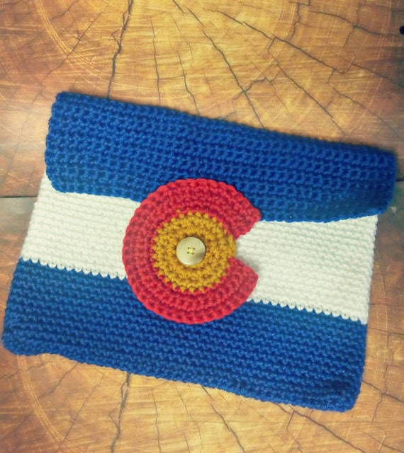 Colorado state flag large crochet clutch