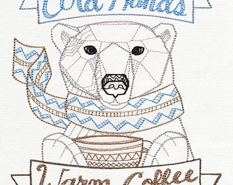 Cold Hands warm coffee polar bear Embroidered Flour Sack Hand/Dish Towel