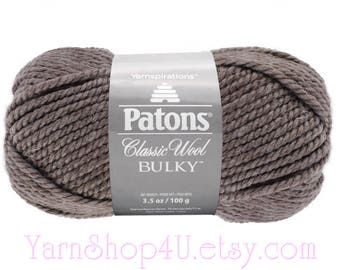 HEATHER HEATHER Bulky Patons Classic 100 percent Wool Bulky Yarn. Brown Grey Bulky 100% Wool. 3.5oz ~78yds. Feltable Bulky Wool. 3.5oz <