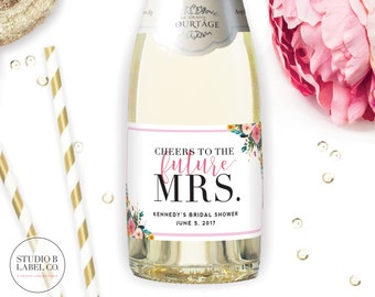 Bridal Shower Favor Mini Champagne Labels - Personalized Sticker Labels - Cheers to the Future MRS - Celebrate the Bride to Be