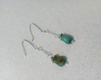 Turquoise Drop Earrings, Silver Earrings Handmade, Dangles, Drop Earwires, Turquoise Earrings, Unique Earrings, Jewelry, Earrings, Jewelry
