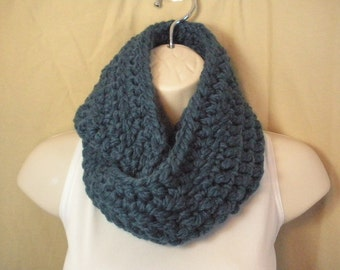 Sapphire Blue Wool Cowl Infinity Circle Scarf