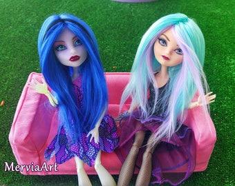 OOAK Monster High , Barbie, Ever after High, BJD Doll wig 5-6 inch , Acrylic yarn wig by MerviaArt