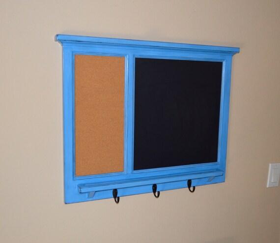 Bulletin Board & corkboard Organizer with letter holder  Key / Coat / Hat rack - Home Decor - Family Organizer