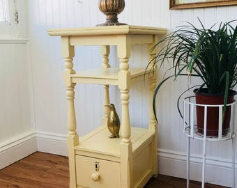 Cottage Style End Table, FREE SHIPPING, Shabby Chic Painted Nightstand,  Butter Yellow Farmhouse