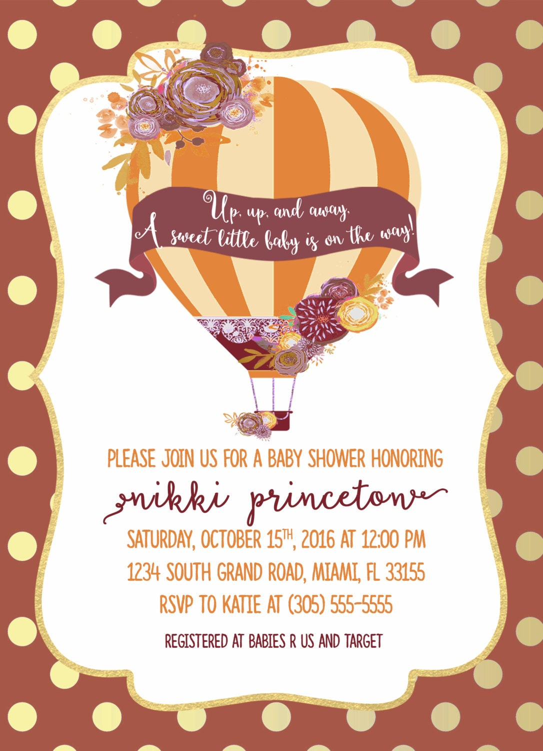 Fall Hot Air Balloon Baby Shower Invitation, Burgundy Baby Shower ...