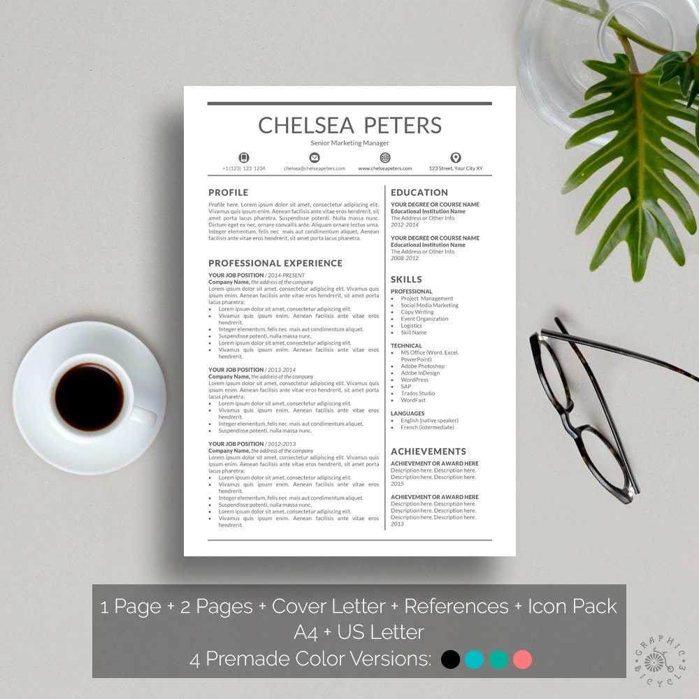 Resume Template Instant Download Creative Resume Template Word
