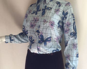 Alfred Dunner Butterfly Print Button-down