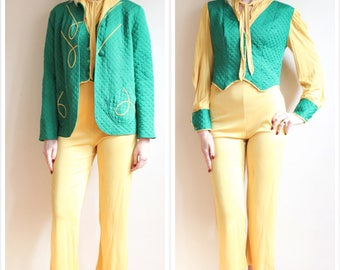1940s Loungewear Set // Luxite Quilted Celanese 3pc Loungewear Pajama Set // vintage 40s lounge set