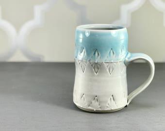 Big pottery mug: Porcelain mug blue ombre stein 22 ounce mug huge handmade mug 4 finger mug one of a kind blue mug by Emily Murphy Pottery