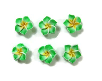15 mm Polymer Clay Plumeria Flowers Set of 6 (SP8)
