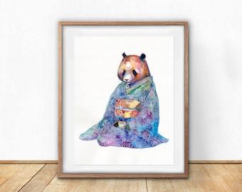 Kimono Panda Print- Wall Art- Gouache Watercolor Painting