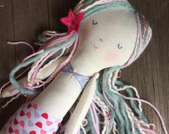 Mermaid doll pink teal hair