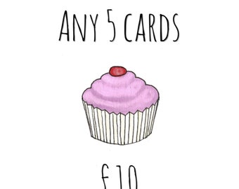 Greetings Cards, Any 5 AmyFrank Greetings Cards, Pack of Cards