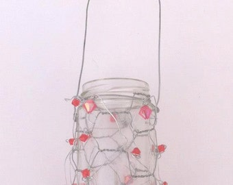Lightening Bug Lantern with pink beads