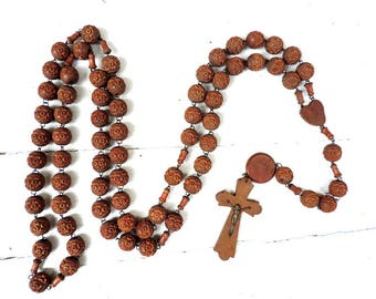 French Vintage Rosary/French Vintage Wooden Lourdes Rosary/French Vintage Large Wooden Hand Carved Rosary From Lourdes/Vintage Rosary