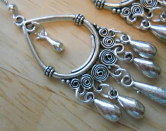 Silver Tone Chandelier Earrings with Silver Teardrop Dangles