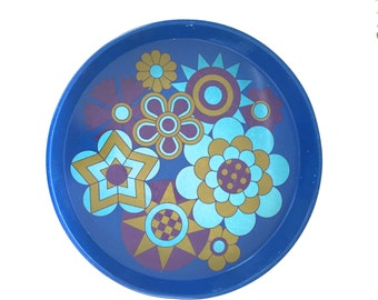 Vintage Blue Flower Power Metal Tray - '60s Flower Power Tray - Ducor Metal Tray Made in England