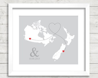 8x10 International Love Map - Two Countries, One Print - Calgary, Alberta, Canada - Christchurch, New Zealand - Long Distance Love