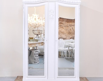 Shabby Cottage Chic Vintage Armoire With Mirrored Doors French Style  Vintage Bedroom Furniture In White #