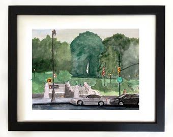 "Art Print St. Nicholas Park Harlem NYC Watercolor Painting ""Summer at St. Nicholas Park"""