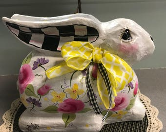 Hand painted black and white check bunny with pink roses