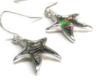 Sale| Abalone Starfish Earrings, Beach, Symbolic, Sea Life, Shell Jewelry, Abalone Dangle Earrings, Starfish Charm Earrings, Beach, Paua, Oc