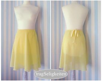 Yellow ballet skirt, dance wrap skirt, ballet clothing, adult dancewear, dance apparel, chiffon ballet skirt, style 'medium'