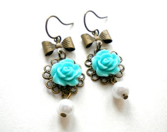 Bridesmaid Pearl Earrings Children Earrings Flower Girl Gift Turquoise Earrings Flower Girl Earrings Turquoise Bridesmaid Earrings