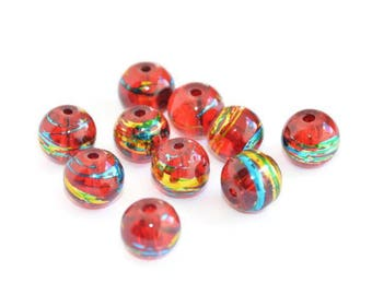 10 translucent red, blue and gold glass beads 8mm