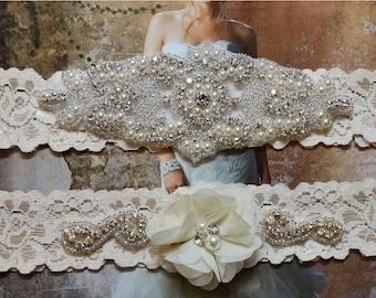 ON SALE Ivory Stretch Lace Garter Set,Wedding Garter Set, Bridal Garter, Garter, Rhinestone Garter,Grace Style 10525