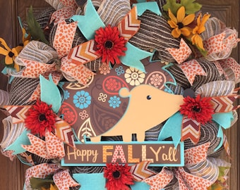 Happy Fall Y'all, Fall wreath, fall home decor,  Deco Mesh, hedgehog, harvest wreath, happy harvest, Happy Fall