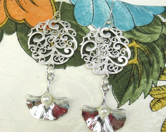 Gingko and Filagree Earrings