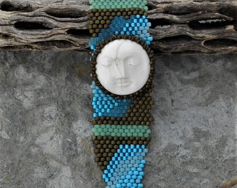 Free Form Peyote Stitch Beaded Bracelet Cuff - Two Face Moon - Beaded Cabochon - Bead Weaving -  Handcarve Ox Bone - BOHO