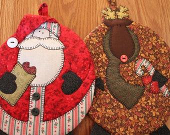 Santa Pot Holder, Rudolph Pot Holder, Christmas Pot Holders, Christmas Decor, Hostess Gift