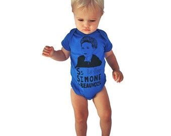"Feminist Baby Onesie: S is for Simone de Beauvoir w/ 8x10"" Screen Print - Size 12 Months"