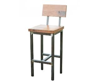Wood And Steel Barstool   Rustic   Industrial