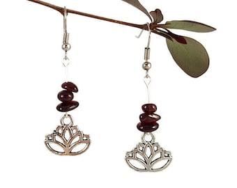 Yoga earrings Red garnet jewelry Reiki jewelry Garnet earring reiki Yoga jewelry Lotus flower silver earring Lotus jewelry Stone earring Lyi