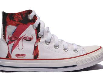 David Bowie custom converse / custom shoes / sneakers