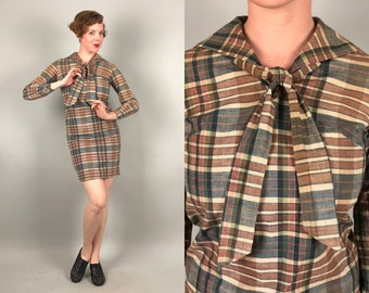 Vintage 1920s 1930s Dress | 20s 30s 'Woolf Brothers' Colonial Blue, Cream Ivory White, and Light Rust Brown Madras Plaid Shift Dress | Small